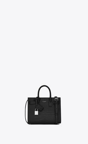 classic sac de jour nano in embossed crocodile shiny leather