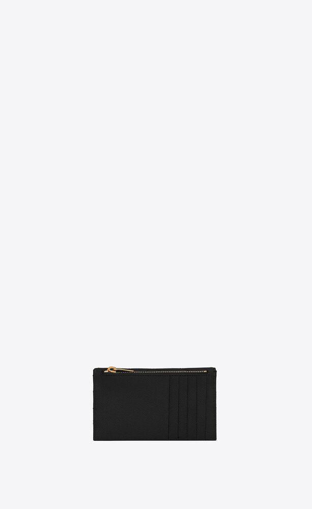 monogramme fragments porte-cartes en cuir matelassé et embossé grain de poudre
