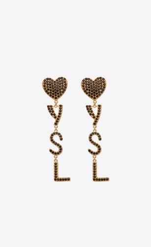 orecchini a cuore opyum ysl in metallo e cristalli