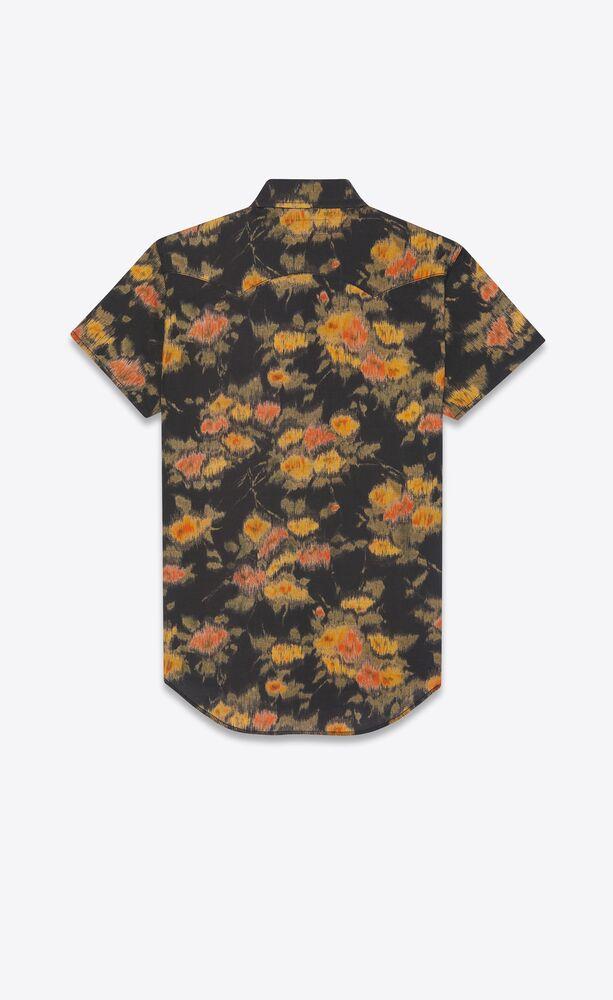 western shirt in vintage floral ikat cotton