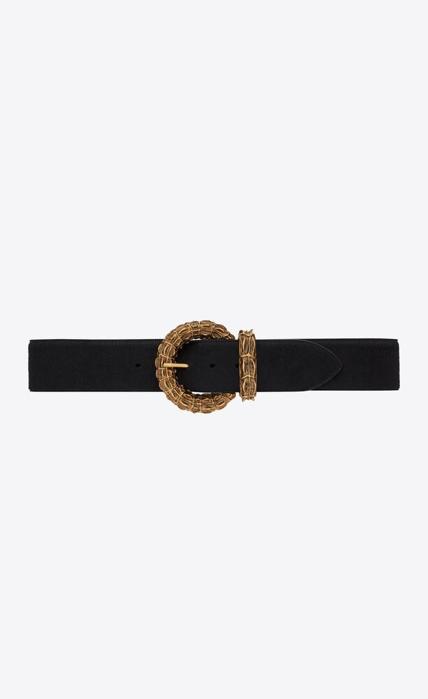 round crocodile buckle wide belt in pony-effect leather