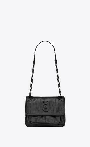 niki baby in crocodile-embossed leather