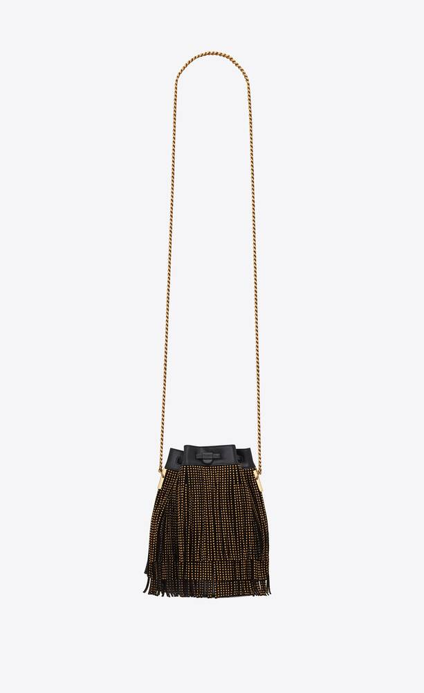 talitha small bucket bag in suede decorated with fringes and studs