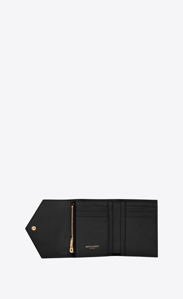 kompaktes, dreifaches monogram portemonnaie aus schwarzem struktur- und steppleder