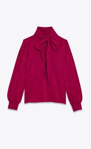 bluse mit lavallière-ausschnitt aus seiden-jacquard im vintage-stil