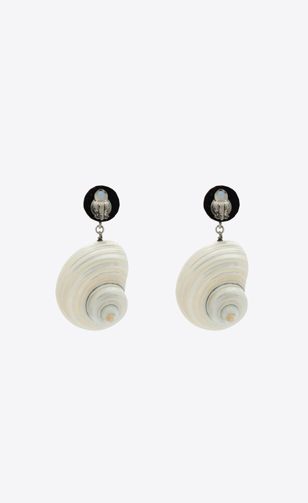 seashell pendant earrings in metal, wood and shell