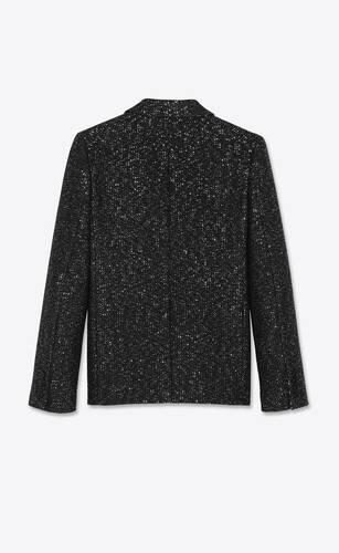double-breasted jacket in sequined wool tweed