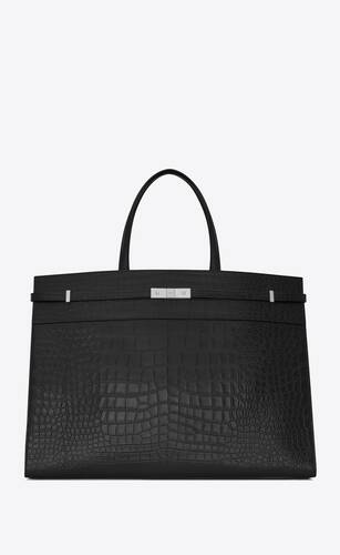 manhattan large shopping en cuir embossé crocodile mat