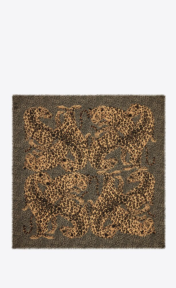 leopard saint laurent large square scarf in wool twill