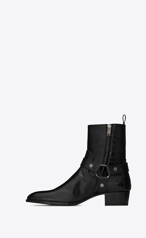wyatt harness boots in crocodile-embossed leather