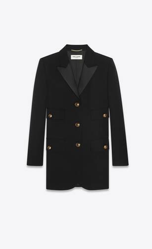 chaqueta de esmoquin con botonadura simple de grain de poudre saint laurent