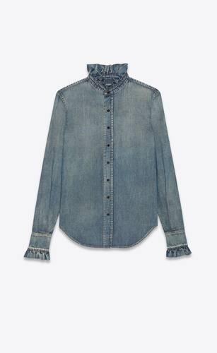 victorian shirt in dirty medium vintage blue denim