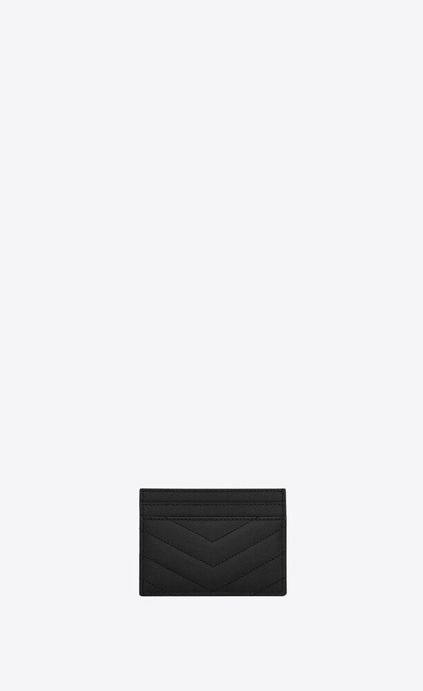 kreditkartenetui aus schwarzem matelassé-leder mit struktur