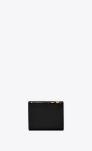 cartera compacta uptown de piel repujada grain de poudre