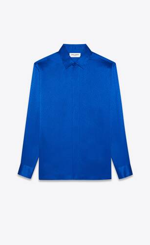 yves collar classic shirt in matte and shiny faille plumetis
