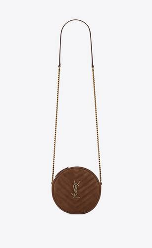 vinyle round camera bag with rope monogram in quilted suede