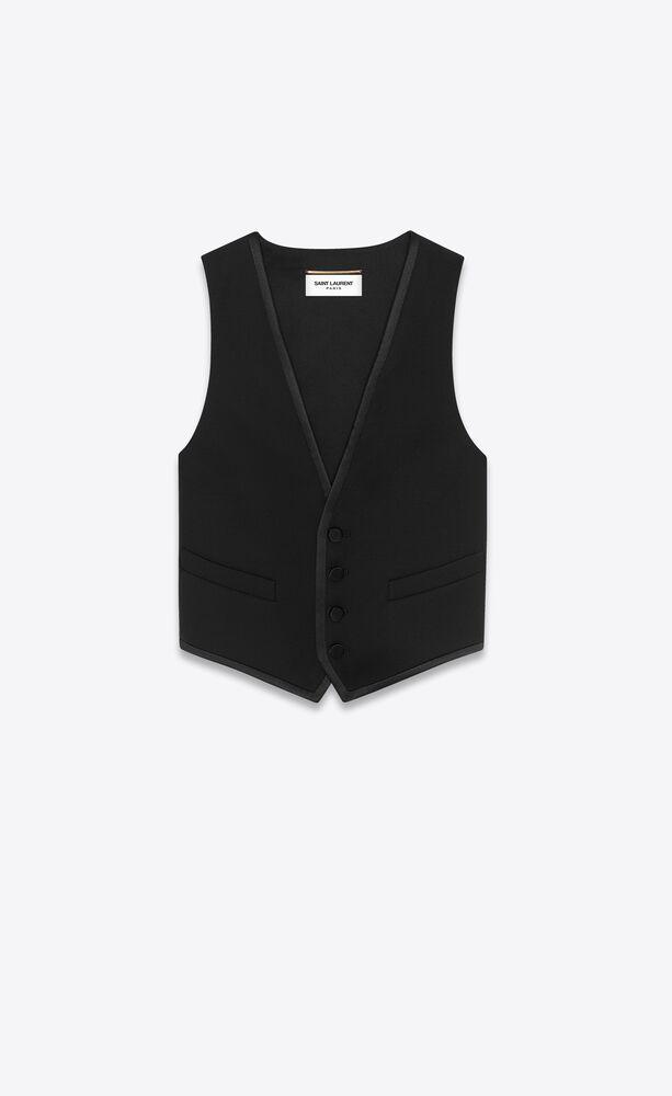 short tuxedo vest in grain de poudre saint laurent