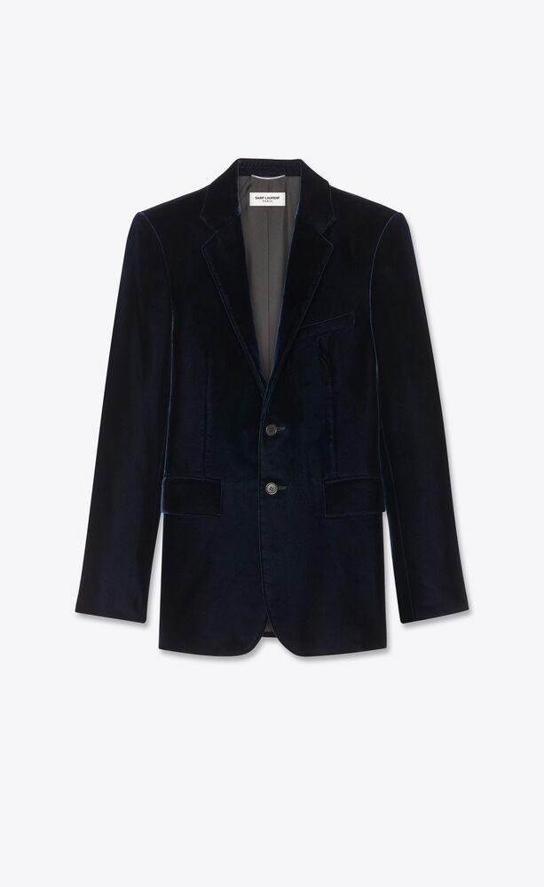 벨벳 소재의 싱글 브레스트 재킷