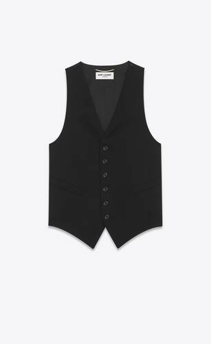 classic vest in grain de poudre saint laurent and silk