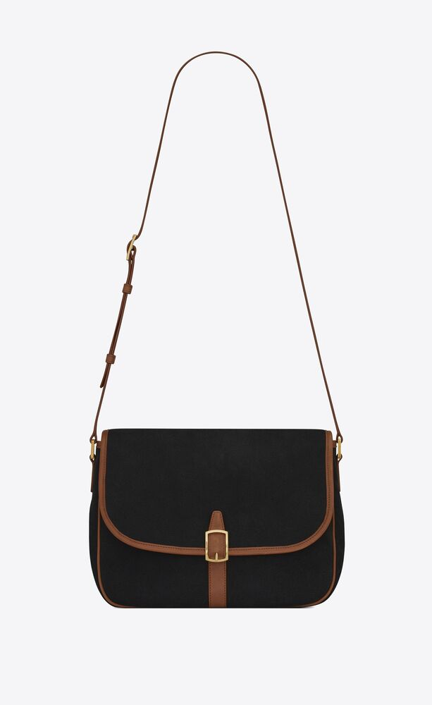 sorbonne flap bag in leather and cotton canvas
