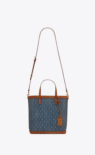 le monogram saint laurent n/s toy shopping bag in denim and suede