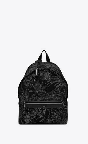 city backpack in tropical print canvas