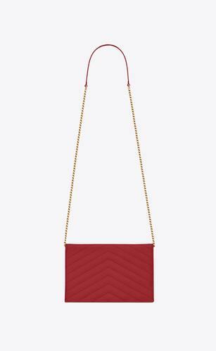 umschlag-portemonnaie mit kette aus lipstick rotem matelassé-leder mit struktur