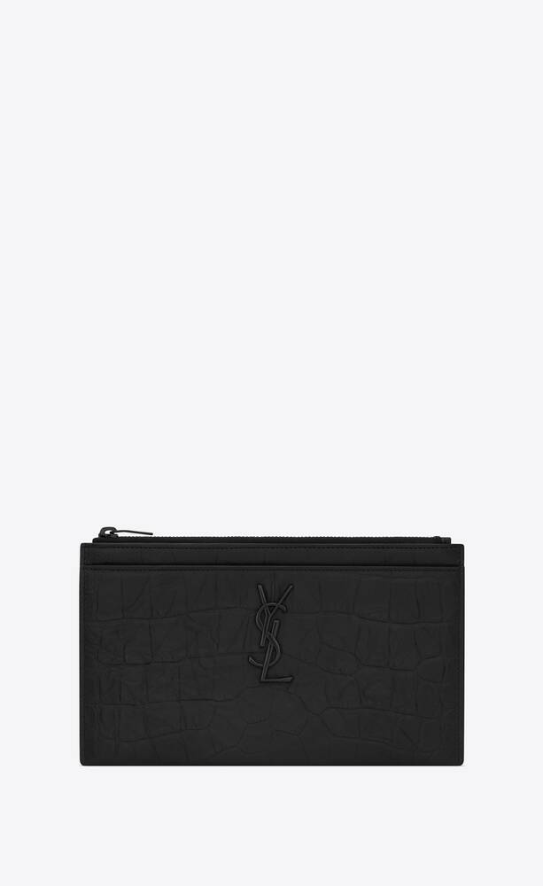 monogramme bill pouch en cuir embossé crocodile
