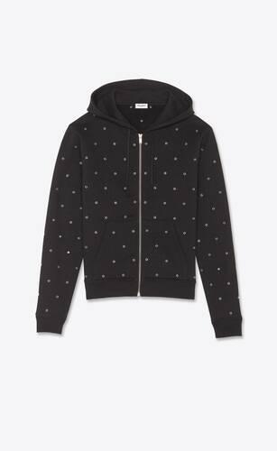 zip-up hoodie with eyelets