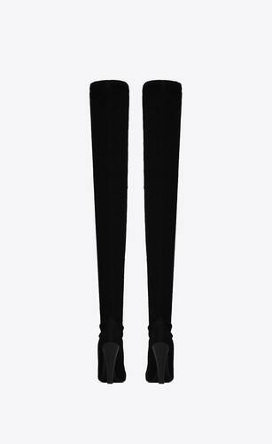 68 over-the-knee boots in python-effect stretch canvas