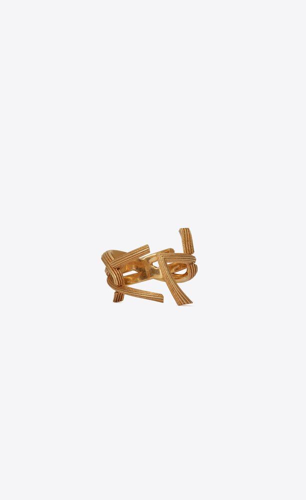 monogram ring in striated brass