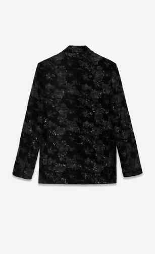 tailored jacket in sequined hibiscus velvet