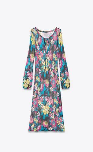 vestido largo de punto de viscosa con motivo floral
