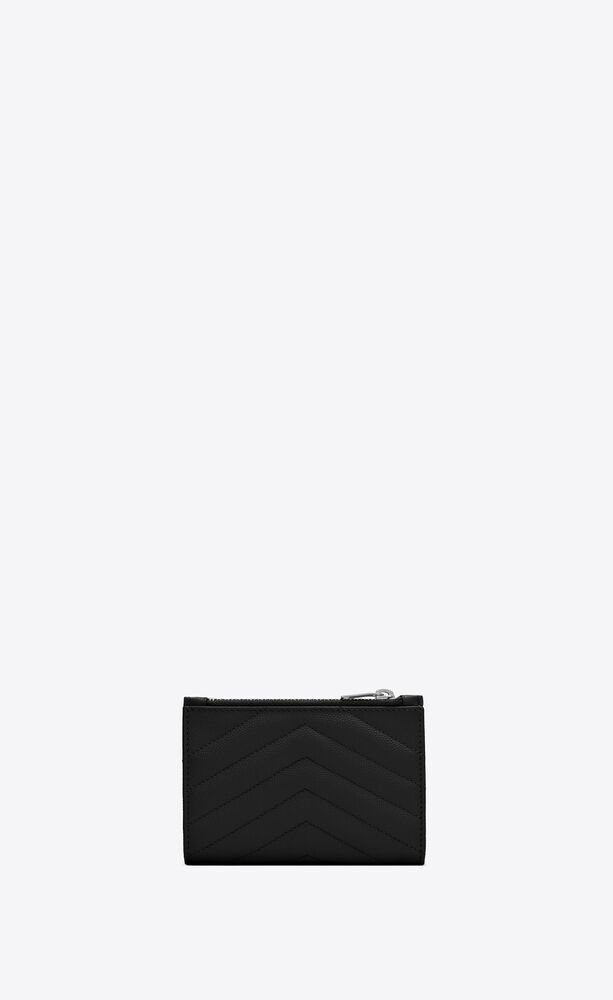 monogram zippered two-part wallet in quilted grain de poudre embossed leather