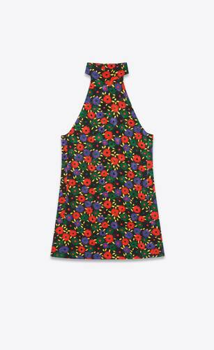 レトロフラワーキルティングドレス(ビスコース/コットン)