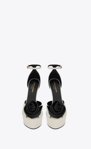 jodie platform sandals in smooth leather with silk satin flower