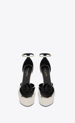 jodie platform sandals in smooth leather with silk satin flower