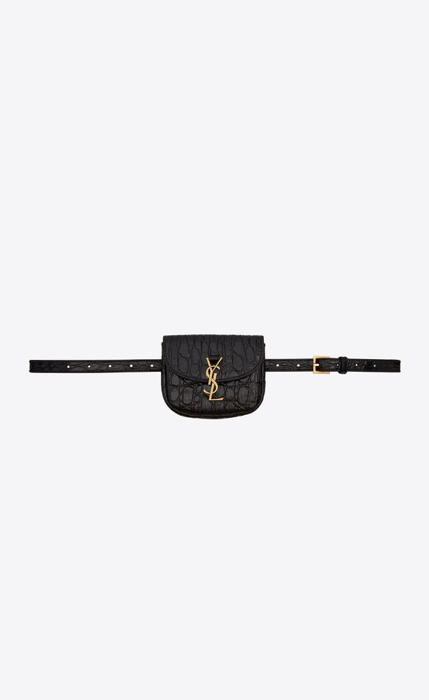 kaia belt bag in crocodile-embossed shiny leather
