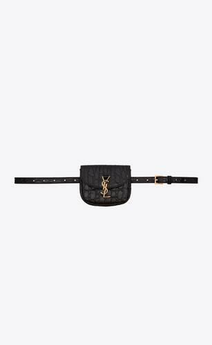 kaia belt bag in crocodile-embossed shiny leather