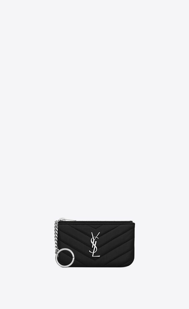 saint laurent schlüsselbeutel aus schwarzem matelassé-leder