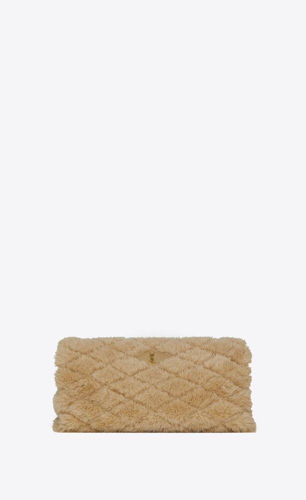 sade puffer envelope clutch in lambskin and merino shearling