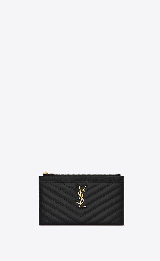 monogram bill pouch in grain de poudre embossed leather