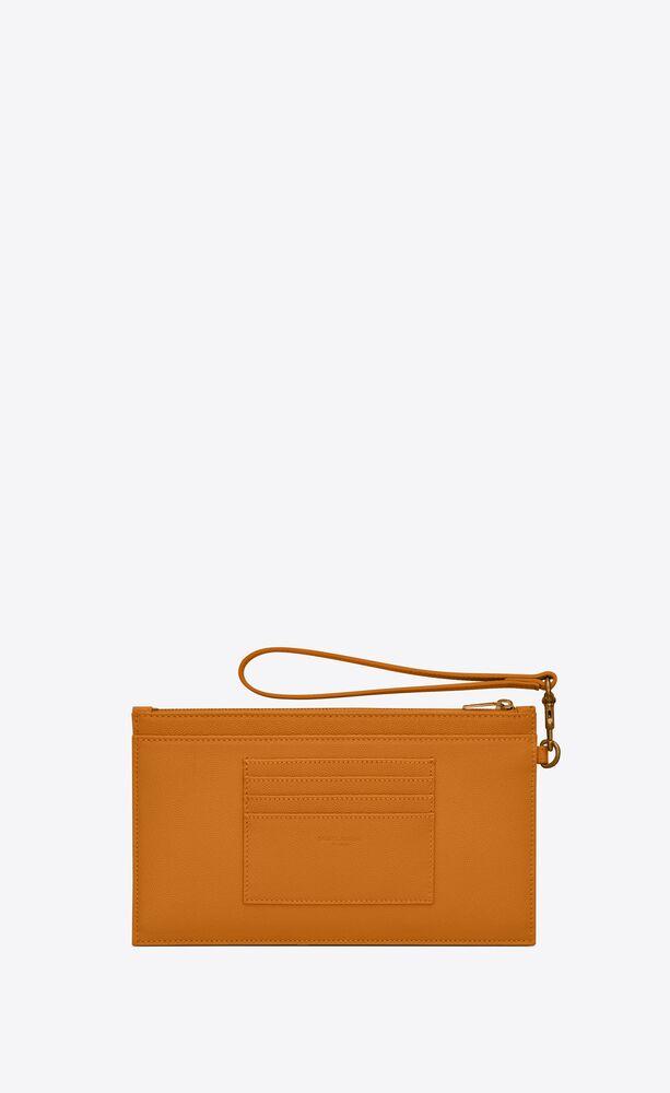 monogram large bill pouch in grain de poudre embossed leather