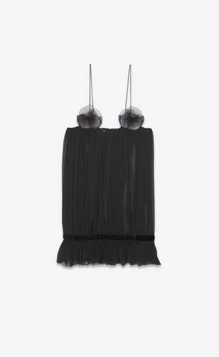 robe courte transparente en mousseline de crêpe