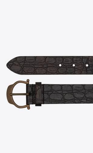 horseshoe buckle belt in crocodile-embossed leather