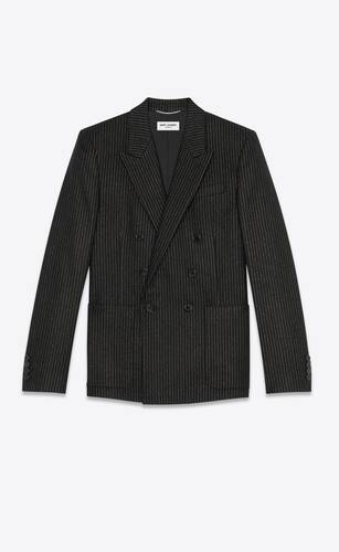 double-breasted tailored jacket in lamé striped wool