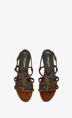 cassandra flat sandals in suede with officer-gold tone palm monogram