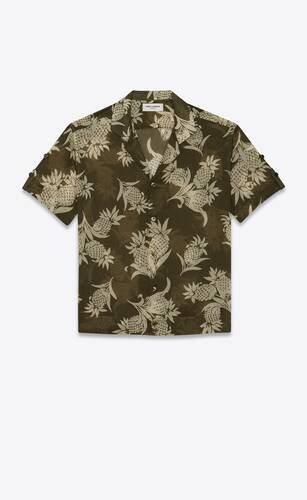 shark-collar short-sleeve shirt in pineapple cotton voile