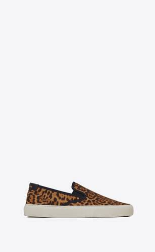 sneakers sin cordones venice de lona con estampado de leopardo