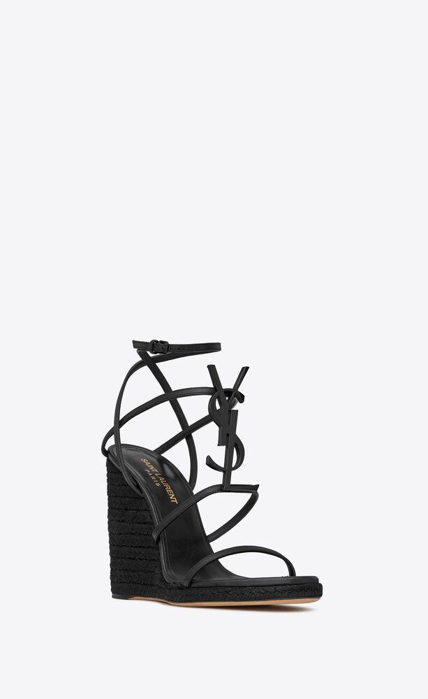 cassandra espadrilles compensées en cuir et logo noir